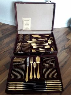 SBS Solingen - 70 piece luxury - cutlery set for 12 people - 23/24 karat - 1000 fine gold - hard gold plated in original wine red case
