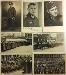 WWII - Nazism - Lot of 7 photo postcards - Manifestations and Officers (Germany/Austria)