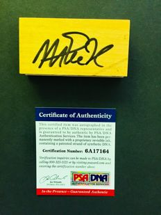 Magic Johnson #32 / LA Lakers - Amazing Signed  Game Used Hardwood Floor NBA Stadium - with Certificate of Authenticity PSA/DNA