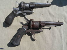 2 pin fire revolvers in calibre 7mm c.1870.