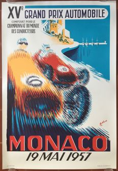 15th Grand Prix Automobile of Monaco 1957  - Poster 68 x 100 cm - printed in 1983