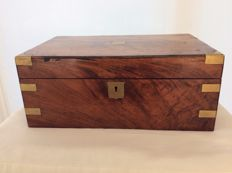 Mahogany Victorian writing box with secret drawer and brass corner pieces - England - ca 1870