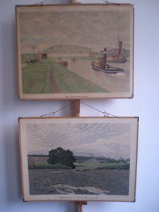 2 School posters respectively the Merwede Canal by B. Bueninck from 1915 and Landscape Veluwzoom-Heelsum by Bueninck from 1905, this one with booklet