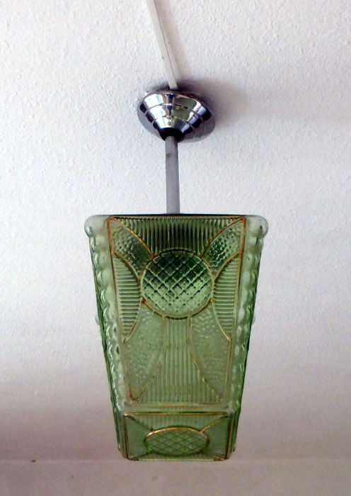 """Anna"" green Art deco hanging lamp, Ca. 1920, France"