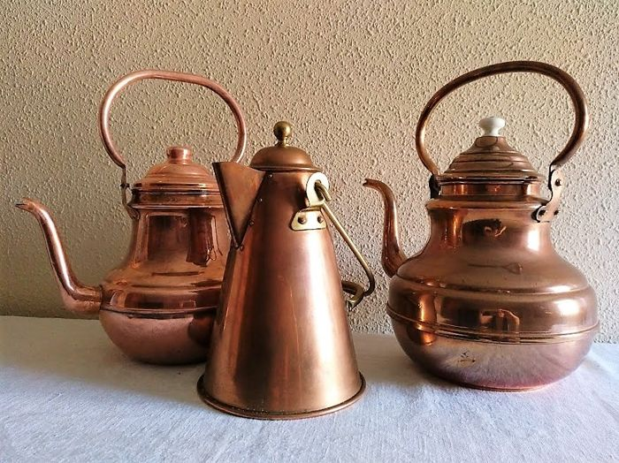 Lot of 3 large and beautiful copper teapots
