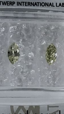 Pair of marquise cut diamonds, 0.30 ct in total, Fancy Light Yellow VS,