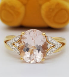 Certified - 14 kt ring with morganite & diamonds – 5.09 Carat  – No Reserve Price –