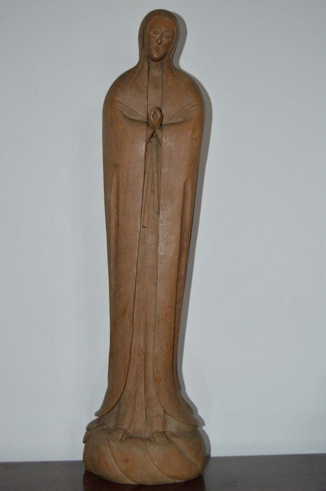 Great Wood Sculpture of Our Lady of Guadalupe - Mexico -  start 20th century (70cm high)