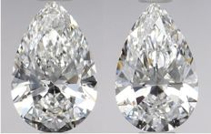 Pair of  Pear  Brilliants 1.02ct total  D VVS1- F IF  GIA - Original image 10EX