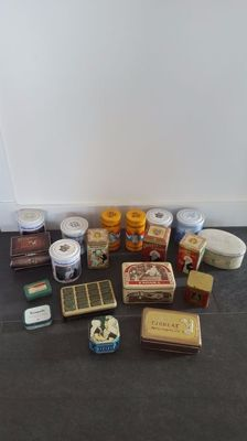 Lot of 19 advertising supply tins from different brands