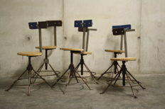 Designer unknown - set of six industrial chairs