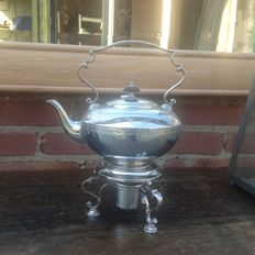 Silver plated tea pot with burner by Gill, London, early 1900