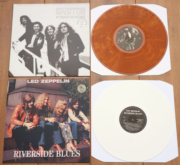 Led Zeppelin- Great lot of 2 special releases: In Through The Outtakes (limited & numbered, 60 copies only, brown wax) & Riverside Blues (white wax)