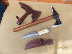 Tomahawk and Damascus steel knife