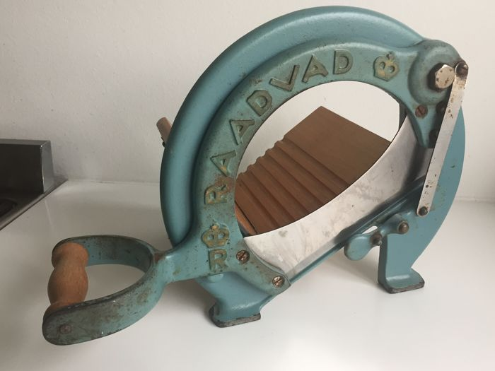 Raadvad - Traditional light blue and gold coloured  bread slicer / cutter, model no. 294