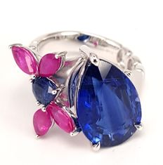 7.34 cts Kyanite, 1.47 cts Ruby and 0.53 cts Sapphire Ring in 18kt White Gold