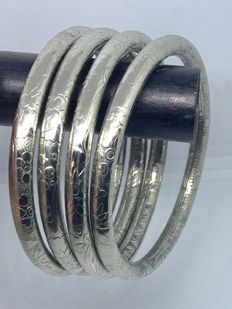 4 Sterling Silver 925 Ornate Stackable Bracelets.    Inside Diameter: 68mm inside
