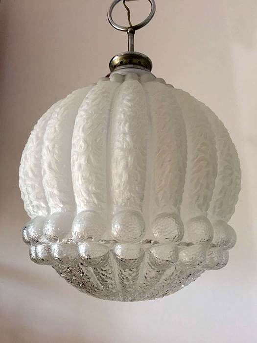 Beautiful antique opaline glass chandelier - Italy - second half of the 20th century