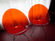 Philippe Starck pour Kartell - 2 chaises Ero'S rouge