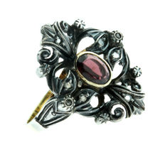 14 karat Art Deco, gold and silver ring set with diamonds and garnet