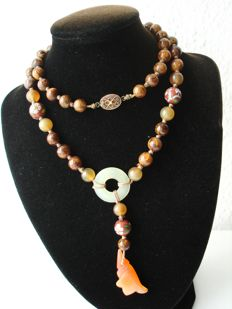Vintage (1950s) Chinese Export to USA - Oriental beaded Necklace with Jade, Carnelian and Cloisonne beads