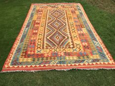 Vintage Vegetable Dyed Hand Made Lamb Wool Chobi Kilim Rug Double Face Design 304 x 197 CM - (10.0 x 6.5 Feet) - 20th Century - Afghanistan