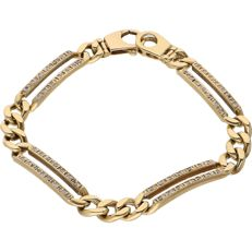 14 kt Yellow gold gourmet bracelet set with 56 diamonds of approx. 0.28 ct in total - Size 18.5 cm