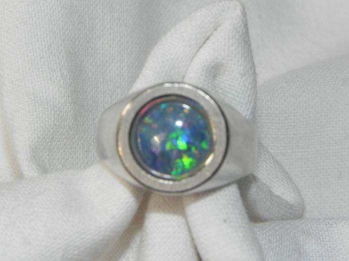 Ring in industrial look natural opal 585/14 KT white/gold - size 15.5 mm
