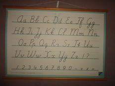 Beautiful old school poster, letter map / writing card (Writing in elementary school)