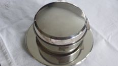 Silver plated cookie jar with tray, Keltum. 2nd half of the 20th century