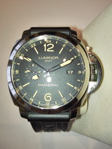 PANERAI 44mm Steel PAM 531 Luminor 1950 3 days GMT Dual Time