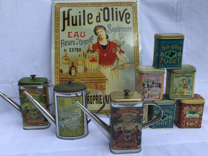 Large lot Vintage tin boxes oil cans and advertising panel __ Huile d'olive __ Ca 1980