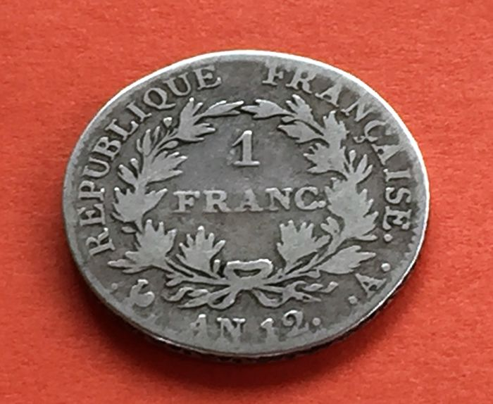 France - 1 franc An 12 A (Paris) - Napoleon I - Silver