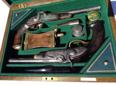 Pair of  rare French Officer Combat pistols, 1816 Pattern like, transformed into percussion, in case.