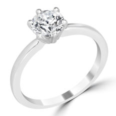 Solitaire engagement ring in white gold, 14 kt, with 1.02 ct diamond