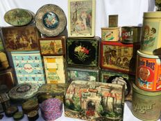 Large lot of 36 different old storage tins and metal cookie boxes