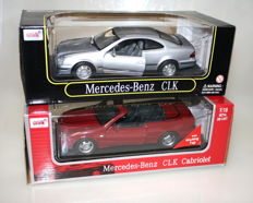 Anson classic - scale 1/18 - Mercedes-Benz CLK Coupe - silver & Mercede-Benz CLK convertible - Red