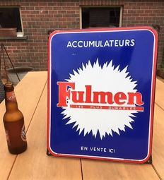 "Old enamelled plate ""FULMEN ACCUMULATEURS"" - 50s (Oldtimer - Garage)"