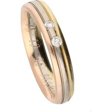 14 kt – Tricolour band ring by Desiree set with 2 brilliant cut diamonds of approx. 0.06 ct in total – Ring size:  17 mm