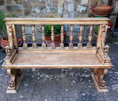 Bench in solid walnut wood - Italy - late 19th century