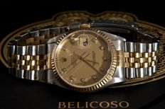 Rolex Datejust - Dot Diamonds Champagne Dial - 16233 - Heren polshorloge