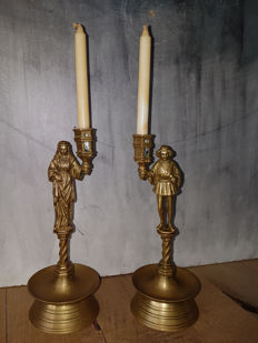 Set of solid bronze candle holders (maiden and squire) - France - ca. 1930