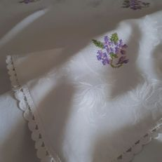 Damask tablecloth with handmade embroidery
