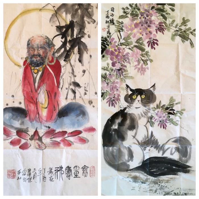 Unframed handpaintings of Dharma, made by Shi Lijie and  Cats by Wang Zhongming - China - Late 20th century