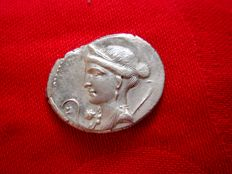 Roman Republic - Julius Caesar silver denarius (3,60 grs. 21 mm.), 46-45 B.C. Military mint travelling with Caesar legions in Hispania. Venus head to left / Trophy.