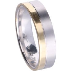 14 kt tri-colour band ring – ring size: 20.5 cm