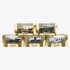 Victoria - Scale 1/43 - Lot with 5 models: R023 Jeep Willys 'United Nations' Lebannon 1978, R006 Hummer U.S. Army, R017 Jeep Willys armoured car ' General Leclerc ', R005 Hummer Desert Storm, R028 Jeep Willys Ambulance U.S. Army Normandy 1944.