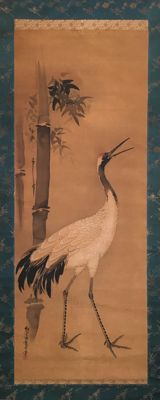 Very old handpainted hanging scroll - Crane and Bamboo, signed and sealed - Japan - ca. 1820 (Edo period)