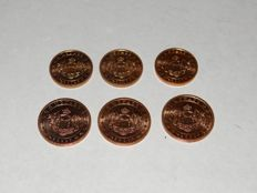 Monaco - 1 Cent + 2 Cent 2001 (total of 6 pieces)