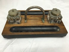 Antique English wooden inkstand - ca. 1870